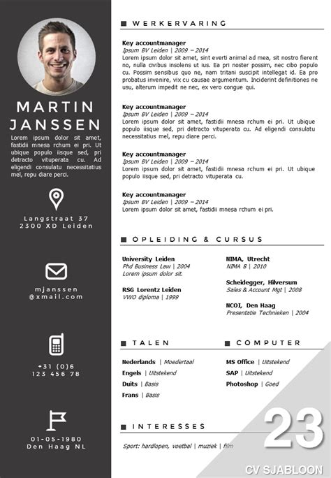 cv layout template nederlands cv sjabloon 23 opvallend professioneel