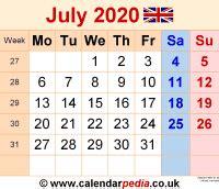 calendar july  uk bank holidays excelpdfword templates