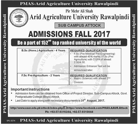 Arid Agriculture Fee Structure Mba by Bsc Unite Pakistan The Youth Portal