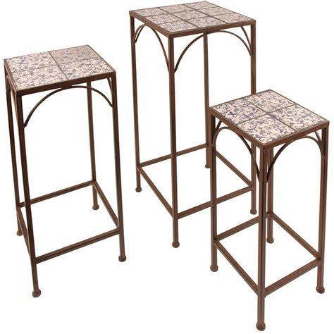 piedistalli per tavoli set di 3 piedistalli per piante in metallo e piastrelle