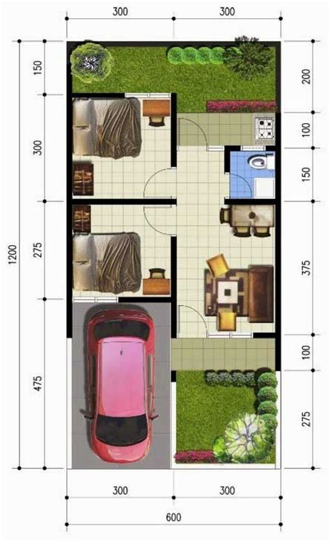 denah desain interior rumah minimalis denah rumah sederhana 6x12 meter kpr minimalis ornamen