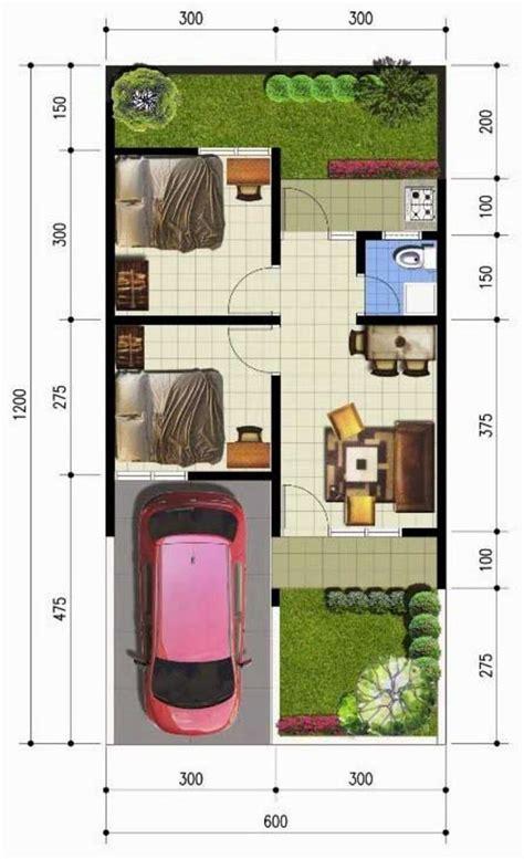 denah rumah sederhana  meter kpr minimalis ornamen rumah pinterest small house floor plans