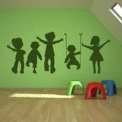 Kids Wall Stickers sur children playing swing kids wall art sticker wall decal transfers