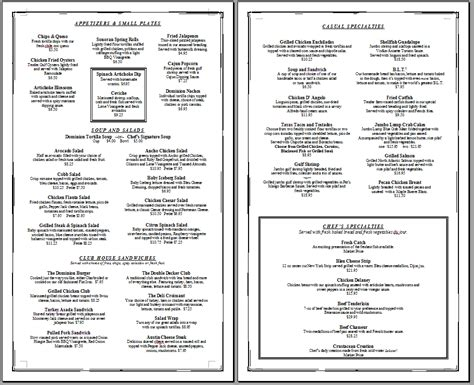 menue templates free printable template restaurant menus simple menu