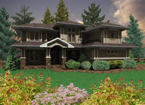 prairie style home on inspirationde prairie style home with 3 car garage 16050pn