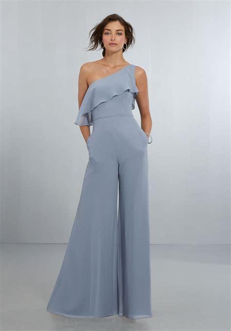 Jumpsuit Dress chic chiffon one shoulder jumpsuit with flounced neckline