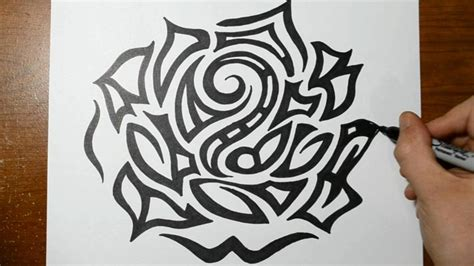 detailed rose tattoo designs drawing a large detailed tribal design