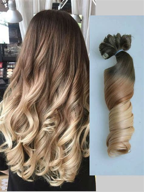 fashion ombre clip in remy hair extensions 3 4 brown ombre balayage indian remy clip in hair