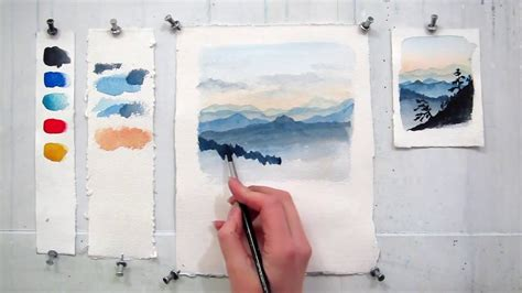 watercolor tutorial mountains easy step by step watercolor tutorial painting the blue