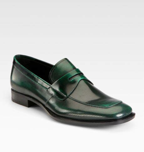 green mens loafers prada spazzolato loafers in green for lyst