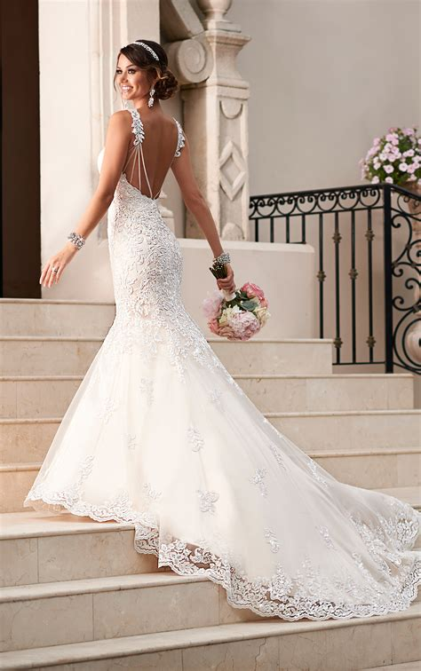 satin lace fit and flare wedding dress stella york wedding dresses