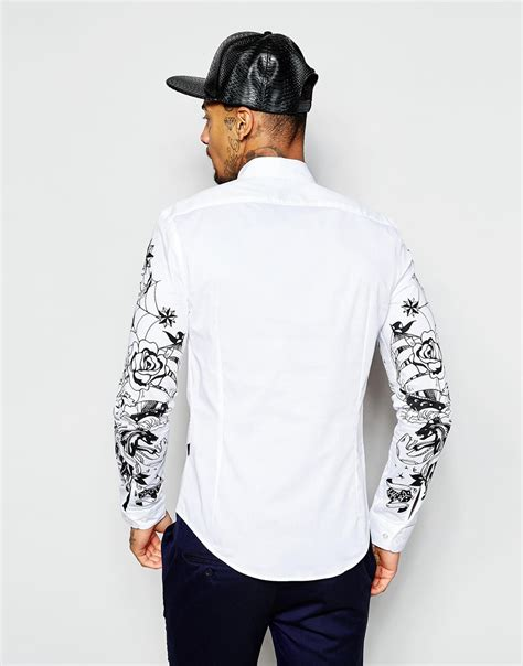 tattoo sleeve shirt lyst moschino shirt with sleeve print in