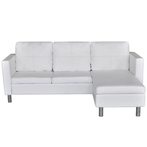 L Shaped White Leather Sofa 3 Seater L Shaped Artificial Leather Sectional Sofa White Vidaxl
