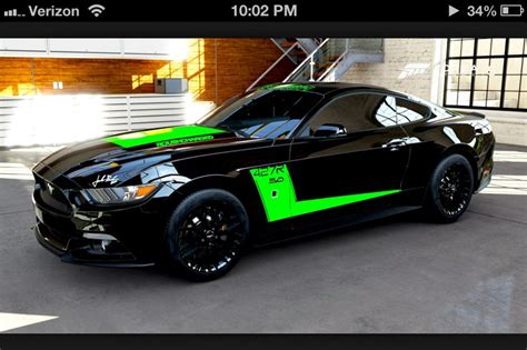 black and mustang gt ford mustang 2015 gt black and green stripe sport cars