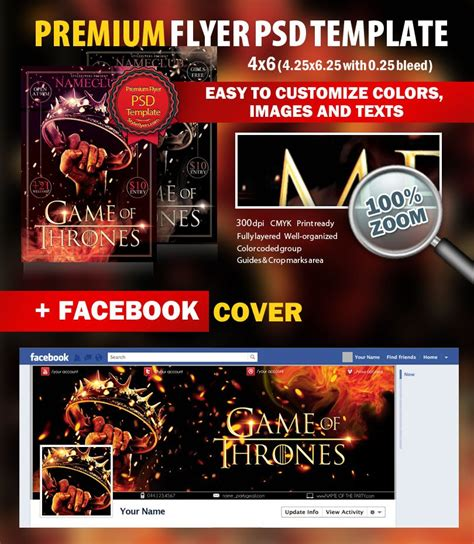 Game Of Thrones Party Psd Flyer Template 8308 Styleflyers Of Thrones Photoshop Template