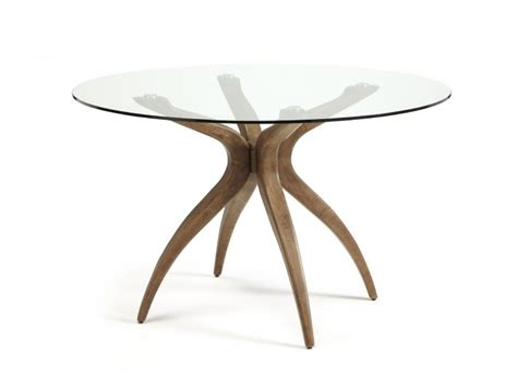 Glass Top Dining Room Table Sets Serene Islington Glass And Walnut Round Dining Table By
