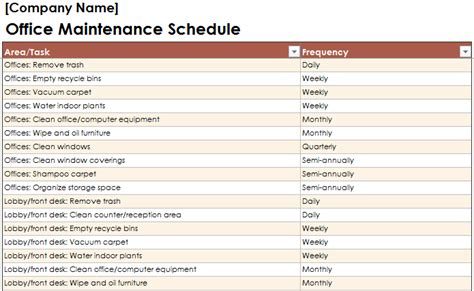 Equipment Maintenance Schedule Template by Equipment Maintenance Schedule Template Excel Planner