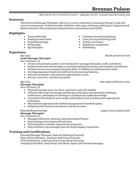 Massage Therapist Resume Sample by Example Resume Example Resume Massage Therapist