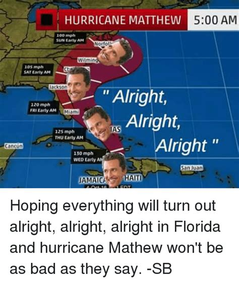 Hurricane Matthew Memes - hurricane matthew 500 am 100 mph sun early am norfo wilmin 105 mph sat early am ackson alright