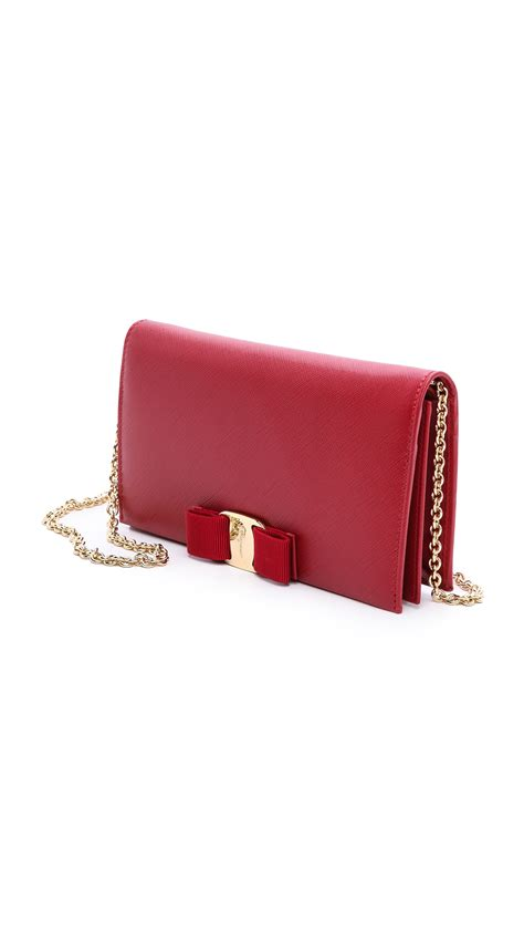 Salvatore Ferragamo Miss Vara Rosso lyst ferragamo miss vara bow wallet on chain in