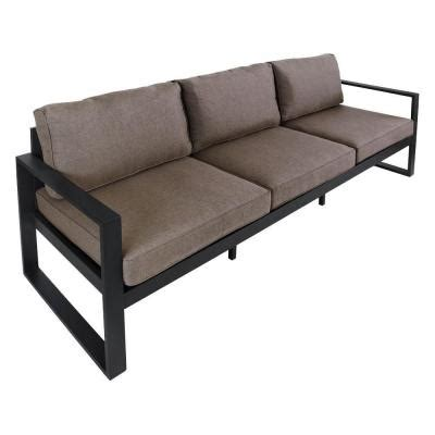 black outdoor sofa real flame baltic 82 in black aluminum all weather casual