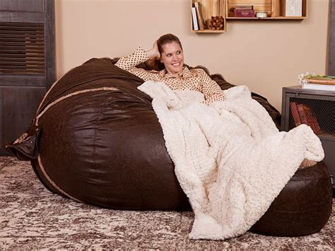 lovesac blanket reversible fox phur microleather supersac and cream
