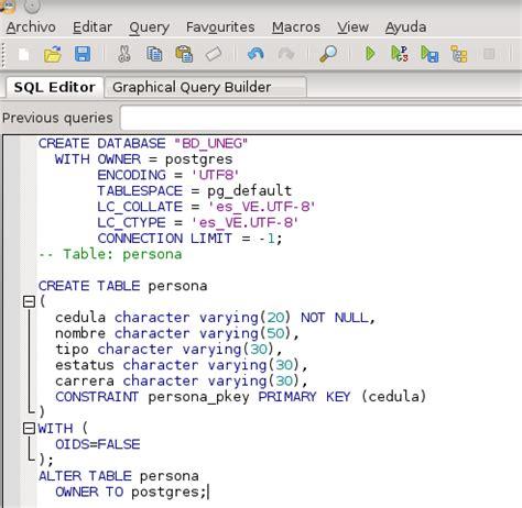 Postgres Alter Table by El Programador Subest 225 Ndar Ejemplo Qt5 Postgres