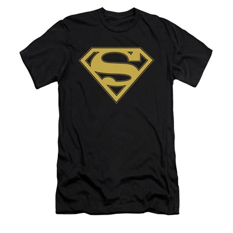 T Shirt Bodyfit Superman Gold superman shirt slim fit gold shield black t shirt
