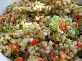 quinoa and barley salad chasing tomatoes