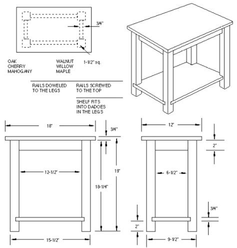 Nightstand Dimensions Standard table blueprints pdf woodworking