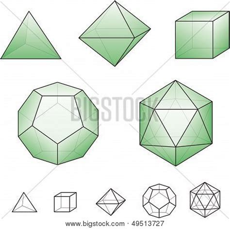 hexahedron template platonic solids regular convex polyhedrons in euclidean