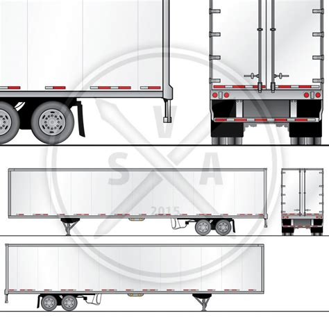 53 foot dryvan trailer wrap design template stock vector art