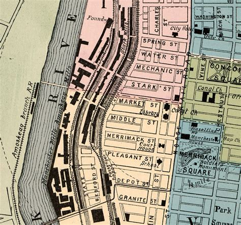 manchester new hshire map vintage map of manchester new hshire 1876 maps