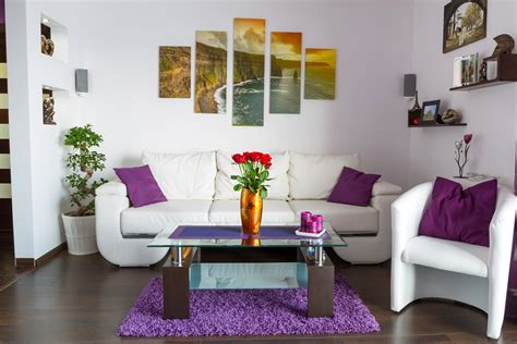 living room purple colour schemes balancing color schemes in your space