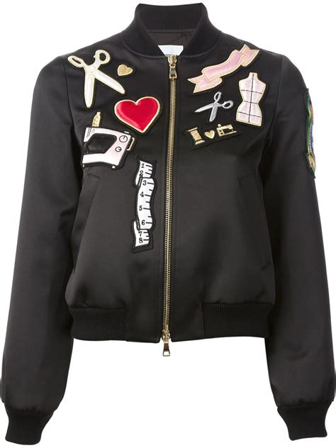 Jacket Bomber Patch Black Jaket Wanita lyst boutique moschino patch bomber jacket in black