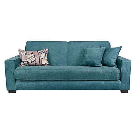 overstock sofa sleeper angelo home grayson parisian teal blue convert a couch