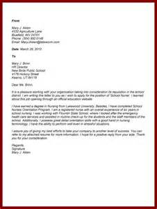 Applying For Cover Letter by Nursing School Cover Letter Sle Cover Letter Templates