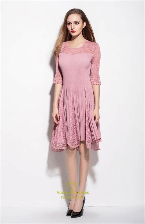 Sleeve Lace A Line Dress pink lace illusion neckline a line dress with 3 4 sleeve