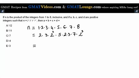 Mba Practice Questions by Gmat Sle Questions Prime Factorisation Of The 8