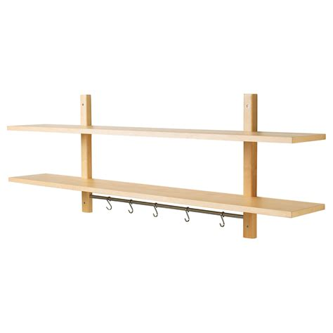 ikea wall shelving ikea varde wall kitchen shelf with 5 hooks solid birch ebay