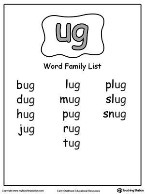 words ending with pug 29 best ig word family images on word families printable worksheets and