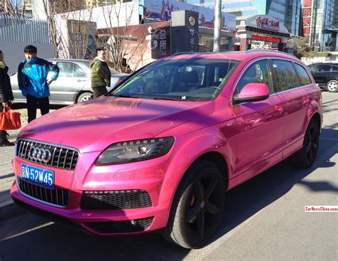 pink audi audi q7 is a chrome pink abomination in china autoevolution