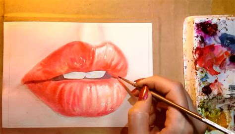 watercolor lips tutorial watercolor techniques for painting hyper realistic lips