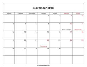 2018 Monthly Calendar With Holidays November 2018 Calendar Printable With Holidays Pdf And Jpg
