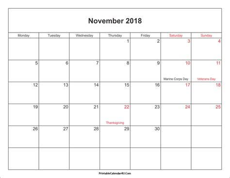 printable calendar november 2017 to december 2018 november 2018 calendar printable with holidays pdf and jpg