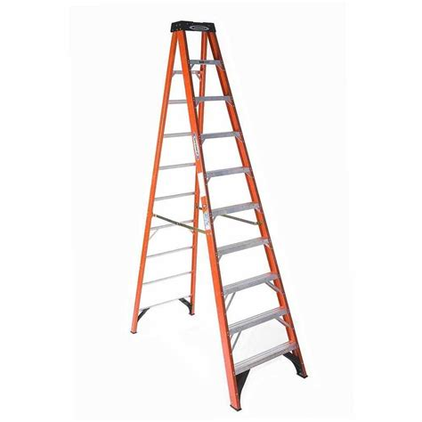 shop werner 10 ft fiberglass 300 lbs type ia step ladder
