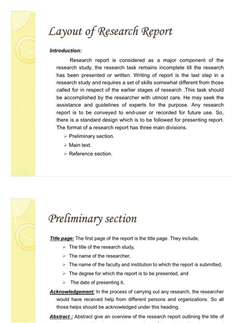 what is layout of research report layout of the research report abstract summary inference