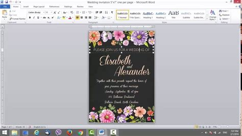 wedding invitation template ms word youtube