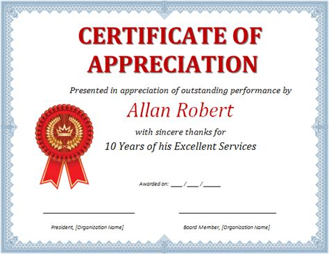 template for certificate of appreciation in microsoft word ms word certificate of appreciation office templates