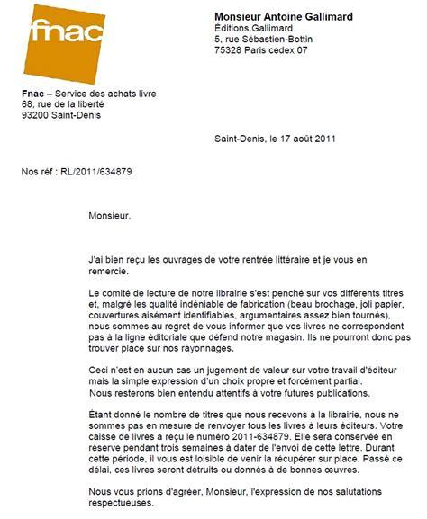Type De Lettre Pour Un Refus De Visa lettre type de refus d un libraire d 233 bord 233 224 un 233 diteur